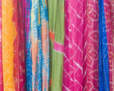 Tie dyed colorful sarees,Jaipur, Rajasthan,India poster
