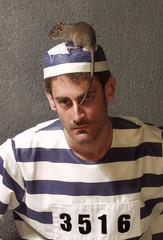Prisionero con una rata en prisión