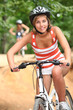 Teenage girl cycling