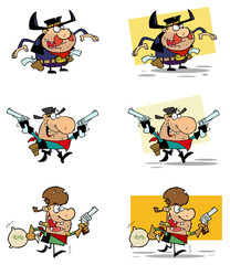 Cowboys Cartoon Characters-Vector Collection