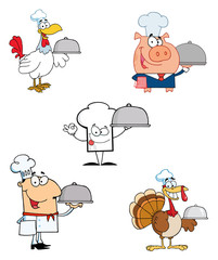 Different Chef Cartoon Mascot Characters-Vector Collection
