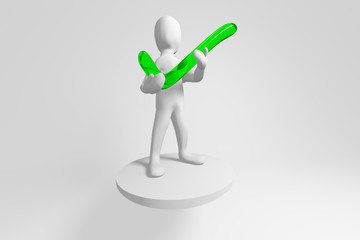 3d human with green positive symbol