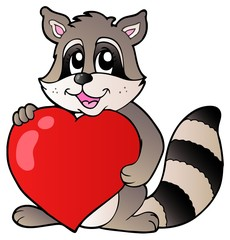 Cute racoon holding heart