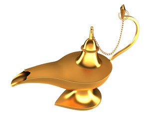 Arabic magic Genie lamp isolated
