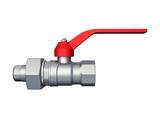 Gate valve with red handle isolated over white