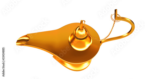 Genie golden lamp top view isolated