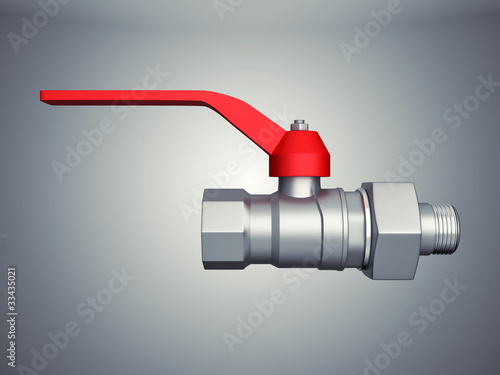 Grey gate valve on spotlight background