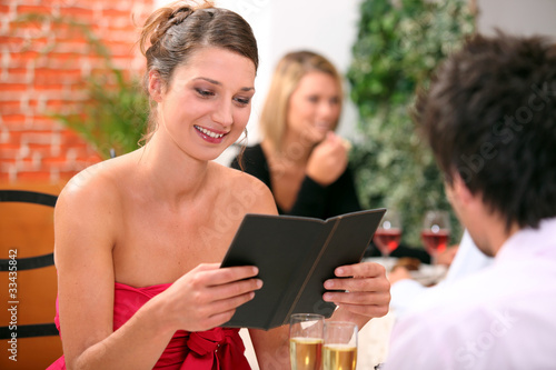couple ordering at a restaurant