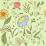 Abstract hand draw seamless flower pattern