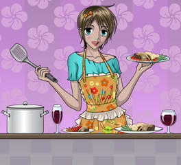 Pretty Girl Cooking Delicious Food in Kitchen