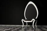 Original black and white armchair on a black background