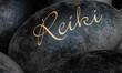 Schwarze Steine mit Text - Reiki - 33440694