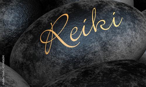 Schwarze Steine mit Text - Reiki