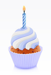 .Blue birthday cupcake