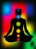 colorful aura with all chakras of body poster