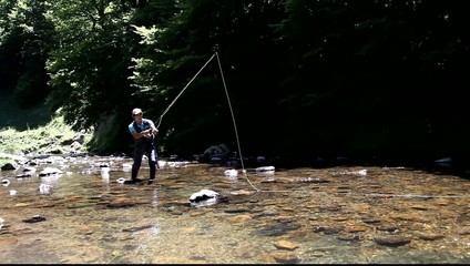 Man flyfishing in river