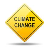 Señal amarilla texto CLIMATE CHANGE poster