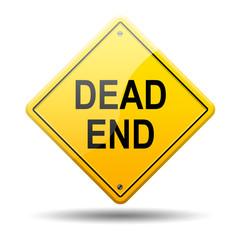 Señal amarilla texto DEAD END