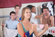 Woman with Thong in Laundromat