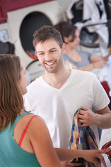 Man Flirts In The Laundromat