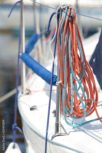 Nautical rope aboard a yacht