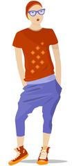 Vector hipster girl