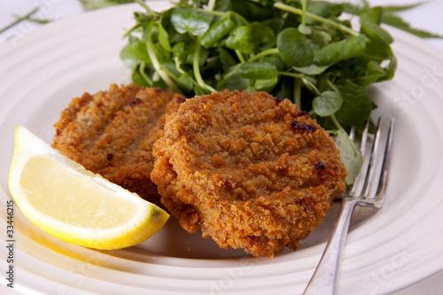 Light fishcake lunch.