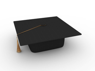 Master's cap for graduates isolated on white background. 3D