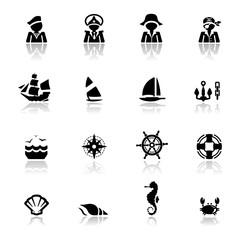 Icons set Nautical simplified