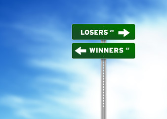 Losers and Winners Road Sign