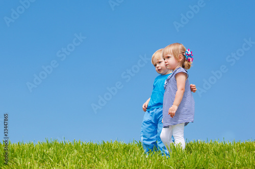 Two kids embracing