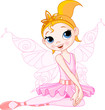 Cute fairy ballerina sitting