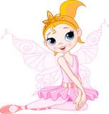 Cute fairy ballerina sitting