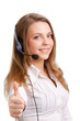 Beautiful young laughing cheerful woman and  headphones with mic