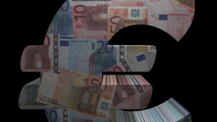 Euro symbol with euros mosaic currency animation