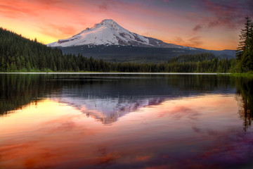 Reflection of Mount Hood on Trillium Lake at Sunset