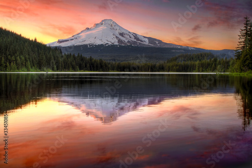 Reflection of Mount Hood on Trillium Lake at Sunset - 33451085