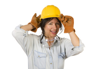 Attractive Hispanic Woman with Hard Hat, Goggles and Work Gloves