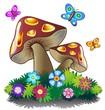 Funghi Primavera e Farfalle-Spring Mushrooms-Vector