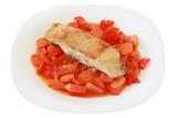 fried flounder with vegetables poster