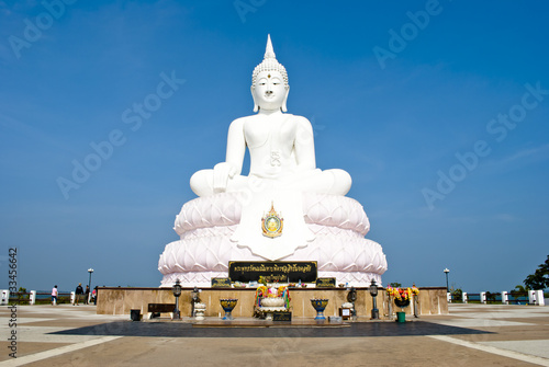 White Buddha on pink lotus