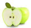 Green apple and half of apple on white background