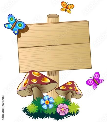 Cartello Legno con Funghi e Farfalle-Spring Wood Panel-Vector