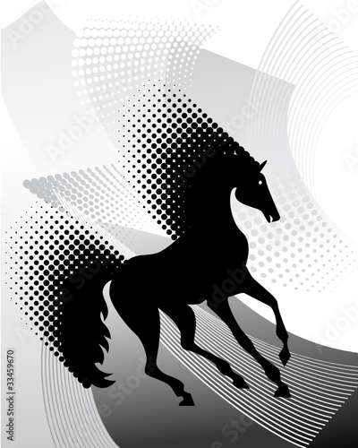 Gray background with horse