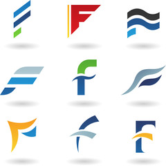 Vector illustration of abstract icons based on the letter F