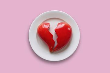 Plate with broken heart