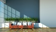 Wohndesign - rotes Ledersofa im Loft