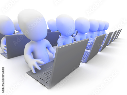 3d Little men in a webinar