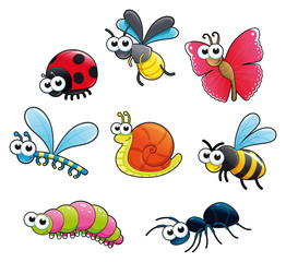 Bugs + 1 snail. Vector isolated characters.