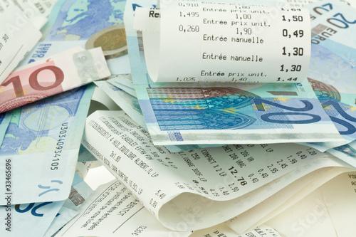argent, tickets de caisse
